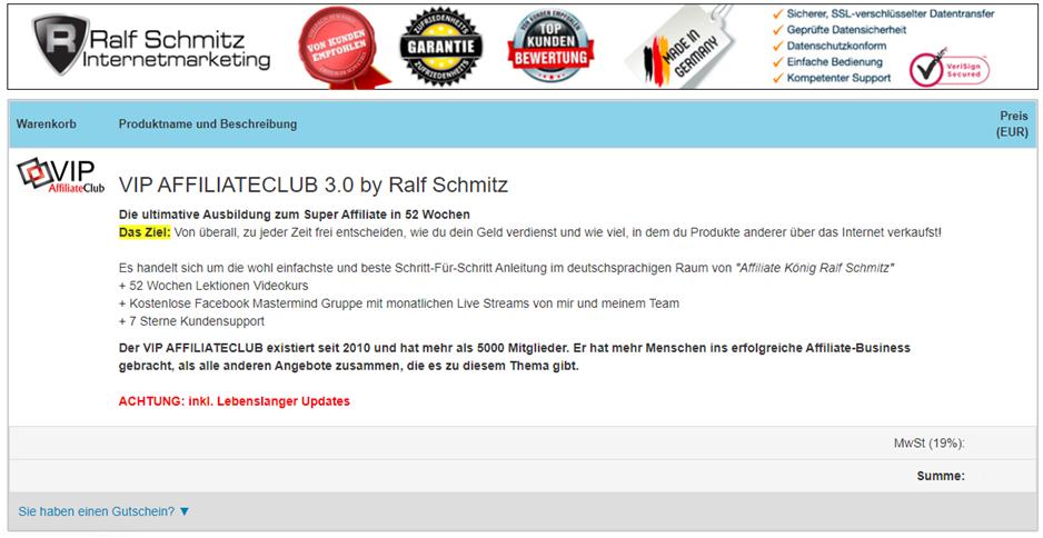 Online Business Digistore24 VIP CLUB Bestellseite ohne Preise
